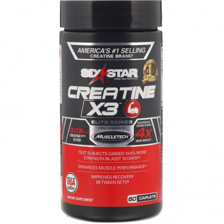Six Star, Elite Series, Creatine X3, 60 Caplets